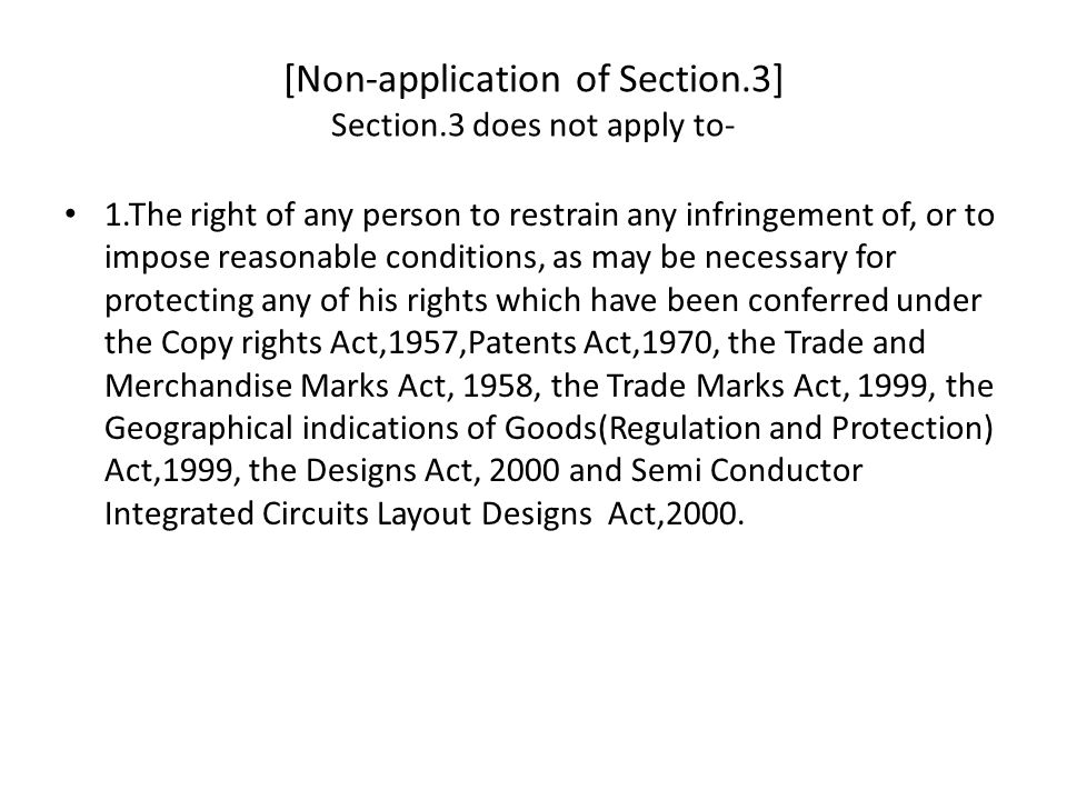 [Non-application of Section.3] Section.3 does not apply to-